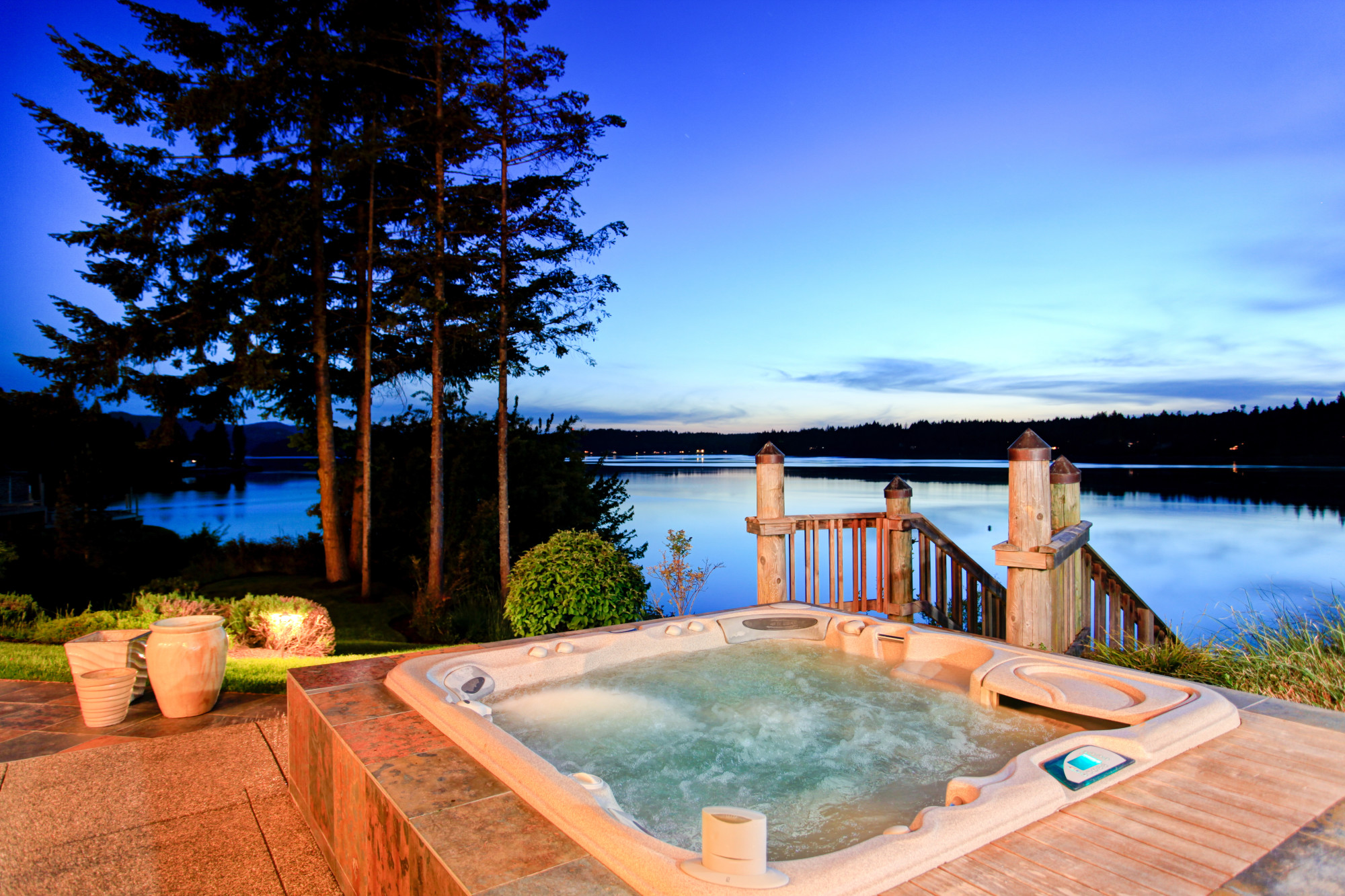 Hot Tub on a Backyard Overlooking a Lake
